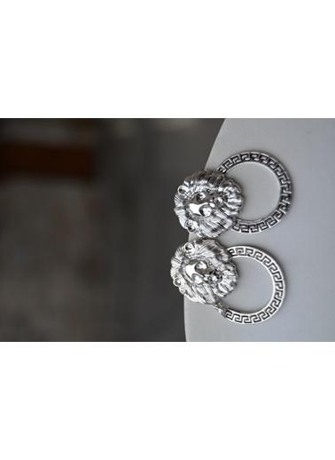 Stoneage Gümüş Kaplama Bayan Küpe Aslan Figürlü Gümüş